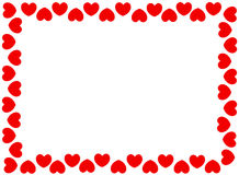 Red hearts border. For valentines day designs Stock Photography