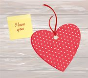 Red hearts with bow and ribbon. Yellow sheet of paper for notes. Sticker. Valentine`s Day. Vector illustration. Greeting card with empty space for the text or Royalty Free Stock Photo