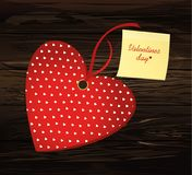 Red hearts with bow and ribbon. Yellow sheet of paper for notes. Sticker. Valentine`s Day. Vector illustration. Greeting card with empty space for the text or Royalty Free Stock Image