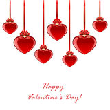Red hearts with bow Royalty Free Stock Image