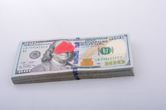 Red hearts and bundle of US dollar Royalty Free Stock Image