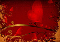 Red hearts and butterflies Stock Photo