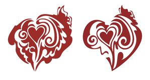 Red hearts with a butterfly Royalty Free Stock Image