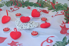 Red hearts. And candles for love and valentine`s day celebration stock photos