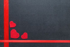 Red hearts on the chalkboard royalty free stock images