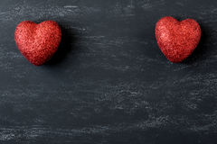 Red Hearts on a Chalkboard Royalty Free Stock Photography