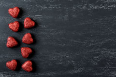 Red Hearts on a Chalkboard Royalty Free Stock Photos
