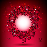 Red hearts in circle frame Royalty Free Stock Photos