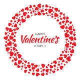 Red Hearts Circle Frame Valentines Day Design Vector Card Background Stock Image