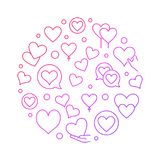 Red hearts circular thin line vector illustration. Red hearts circular thin line illustration - vector valentines day card with outline hearts on white Royalty Free Stock Images