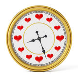 Red hearts on clock instead of numbers. 3D illustration Stock Photography