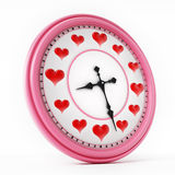 Red hearts on clock instead of numbers. 3D illustration Stock Images