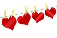 Red hearts on clothesline Stock Photo