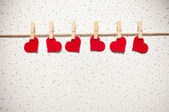Red hearts on a clothespin Stock Photo