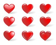 Red hearts, collection. The collection of red hearts isolated on white background stock illustration