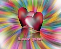 Red hearts on colorful background. Love image royalty free stock photos