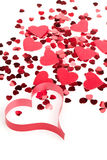 Red Hearts Confetti And Fabric Heart On White Background Royalty Free Stock Image