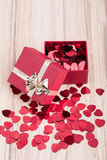 Red hearts confetti in box valentine love concept Royalty Free Stock Photography
