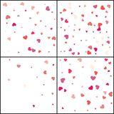 Red hearts. Confetti celebration. Falling pink abstract decoration for party, birthday celebrate, anniversary or event, festive. vector illustration