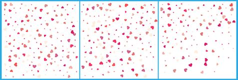 Red hearts confetti celebrations. Simple festive modern design. Holiday vector. Set 3 in 1.  royalty free illustration