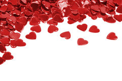 Red hearts confetti isolated Stock Photos