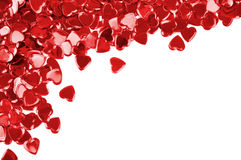 Red hearts confetti isolated Stock Photography