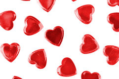 Red hearts confetti isolated Royalty Free Stock Photos