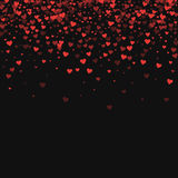 Red hearts confetti. Scatter top gradient on black valentine background. Vector illustration Royalty Free Stock Photos