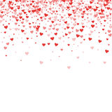 Red hearts confetti. Scatter top gradient on white valentine background. Vector illustration Stock Photos