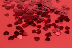 Red hearts confetti Stock Images