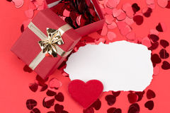 Red hearts confetti Stock Photos