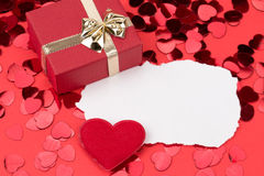 Red hearts confetti Royalty Free Stock Images