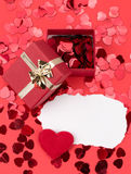 Red hearts confetti Stock Photography