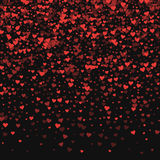 Red hearts confetti. Top gradient on black valentine background. Vector illustration Stock Photos