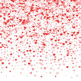 Red hearts confetti. Top gradient on white valentine background. Vector illustration Stock Image