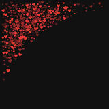 Red hearts confetti. Top left corner on black valentine background. Vector illustration Stock Photography