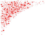 Red hearts confetti. Top left corner on white valentine background. Vector illustration Stock Images