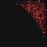 Red hearts confetti. Top right corner on black valentine background. Vector illustration Stock Photo