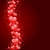 Red hearts confetti wave. Valentine's day or Wedding background Stock Photos