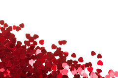 Red hearts confetti on white background Stock Photography