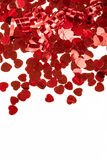 Red hearts confetti on white background Stock Images