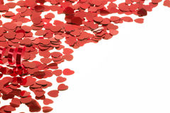 Red hearts confetti on white background Royalty Free Stock Photography