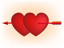 Red hearts and Cupid arrow Stock Image
