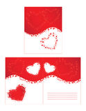 Red hearts and curls Royalty Free Stock Photo