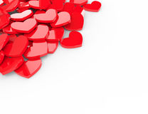 Red Hearts 3d background. White background Stock Images