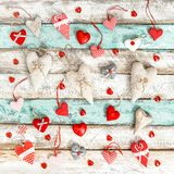 Red hearts decoration Love Valentines Day. Red hearts decoration on rustic wooden background. Love. Valentines Day Royalty Free Stock Photo