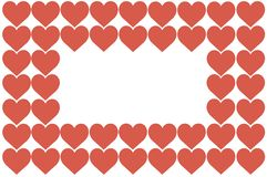 Red Hearts Design on White Background. Love, Heart, Valentine`s Day. Can be used for Articles, Printing, Illustration purpose,. Background, website, businesses stock illustration