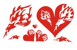Red hearts of a dragon and a flaming dragon. Firedrake and red hearts on a white background Royalty Free Stock Photo