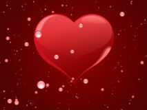 Red hearts with drops Stock Photo