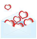 Red hearts and envelope Stock Photos